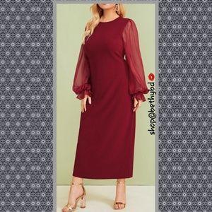 Cranberry Red❤  5🌟 dress bishop sleeve